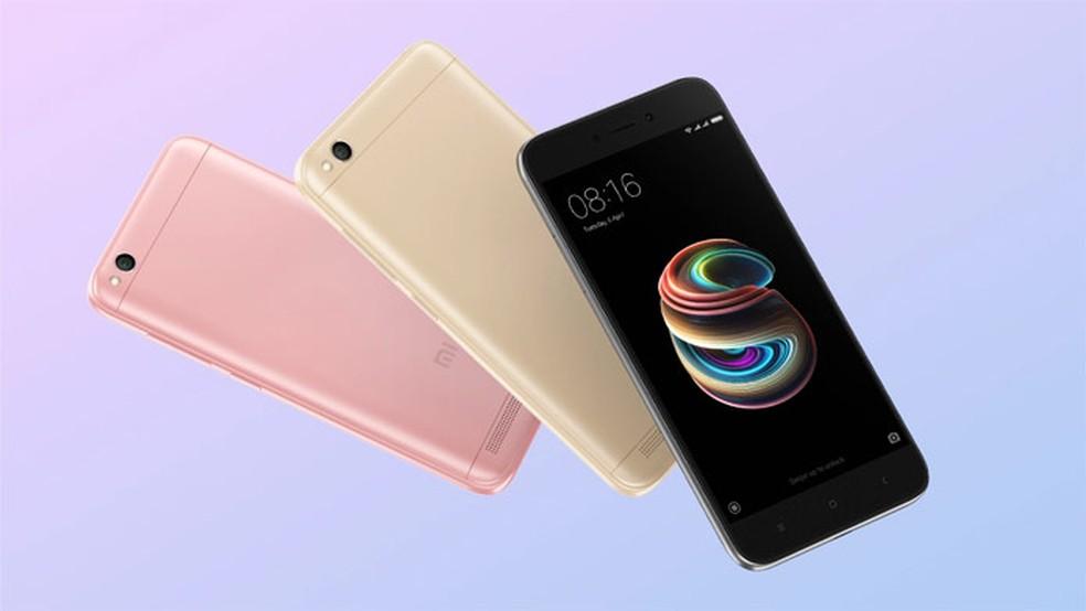 O Redmi 5A é encontrado em três cores diferentes (Foto: Divulgação/Xiaomi)