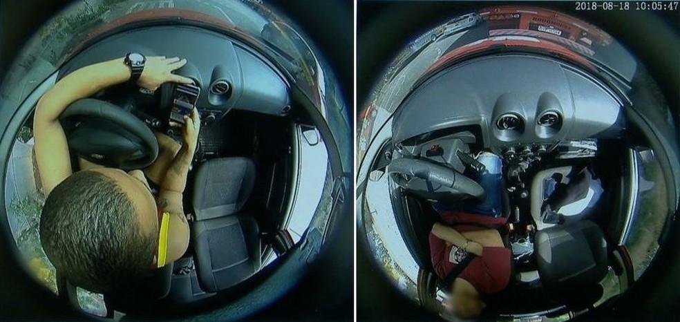 Flagrantes de aluno mexendo ao celular e outro dormindo: nos dois casos não há instrutor no veículo — Foto: Reprodução/Videomonitoramento