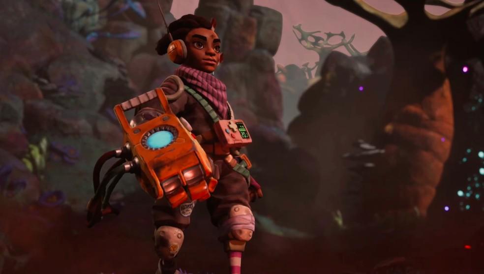 The Gunk é ambientado em solo alienígena com gráficos desenhados — Foto: Divulgação/Microsoft