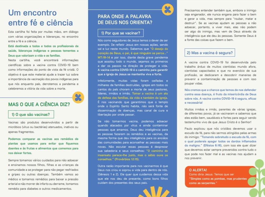 Cartilha criada pelo ISA para incentivar a vacinação no público evangélico — Foto: Reprodução