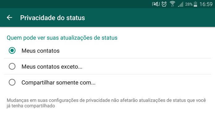 Configure a privacidade do Status no WhatsApp (Foto: Reprodução/Barbara Mannara)