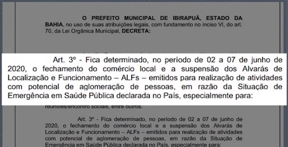 Após primeira morte por Covid-19, prefeitura de Ibirapuã decreta fechamento do comércio até domingo