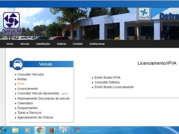 Consulta a boletos do IPVA na Paraíba começa a ser exclusivamente online (Foto: Reprodução / Site do Detran)