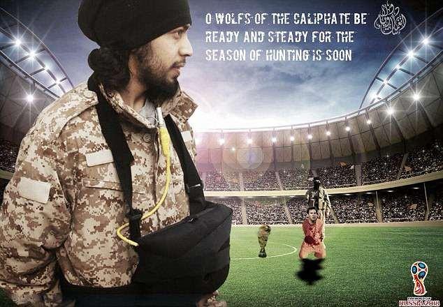 O material divulgado pelo grupo terrorista Estado Islâmica com uma ameaça à Copa do Mundo e ao craque Lionel Messi (Foto: Reprodução)