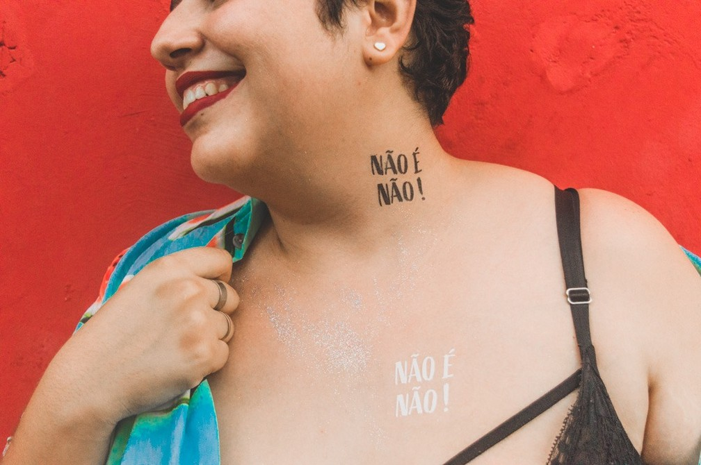 Coletivo 'Não é não' vai distribuir tatuagens no carnaval de Salvador  — Foto: Divulgação