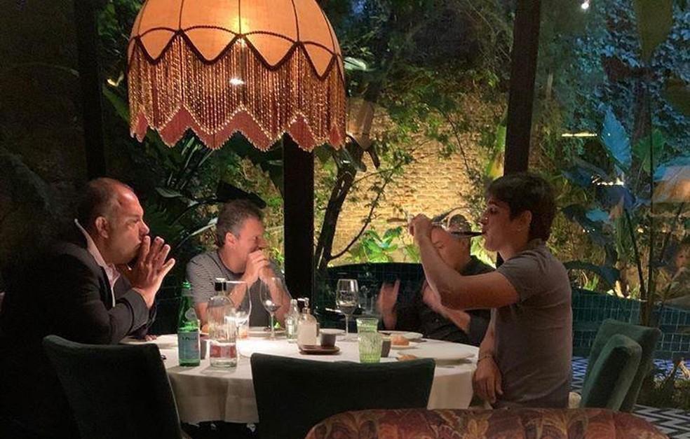 Reunião da diretoria do Flamengo com Torrent — Foto: Reprodução
