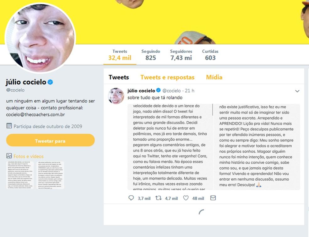 Neste domingo (1), o Twitter de Cocielo contabiliza apenas 32,4 mil publicações e a página carrega apenas 1 tuíte (Foto: Reprodução/Twitter)