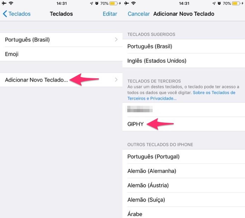 Ação para visualizar opcões para instalar o teclado virtual Giphy no iOS — Foto: Reprodução/Marvin Costa
