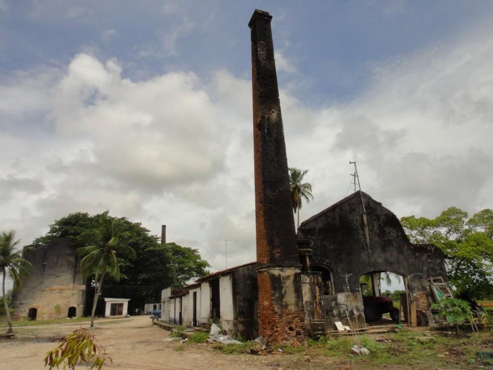 Parte das ruínas da fábrica de cimentos na Ilha Tiriri, em Santa Rita, PB — Foto: Alysson Medeiros/Acervo pessoal