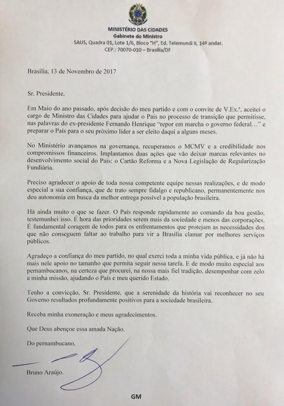 Carta de demissão do ministro das Cidades, Bruno de Araújo (PSDB-PE) (Foto: Reprodução)