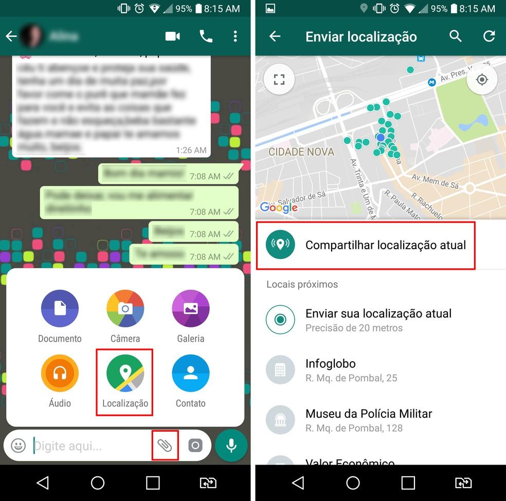 Selecione a opção de anexo para compartilhar a localização no WhatsApp (Foto: Reprodução/Aline Batista)