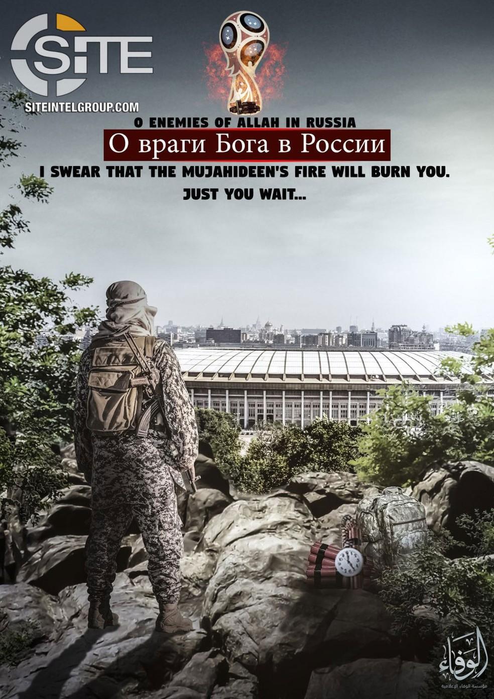 Cartaz divulgada pelo Estado Islâmico contém ameaça ao estádio Luzhniki, em Moscou, que será usado na Copa do Mundo (Foto: Reprodução/SITE)