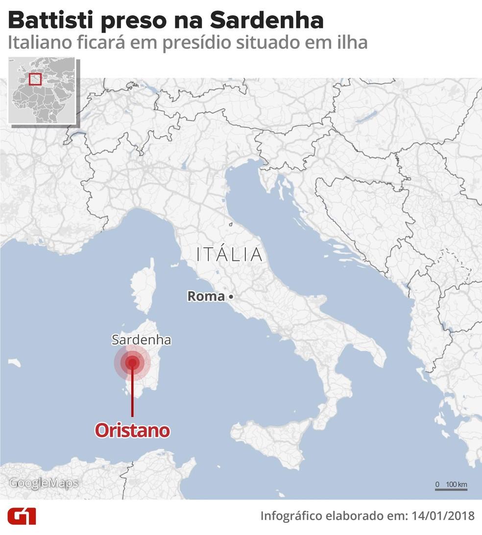 Battisti ficará preso na Sardenha — Foto: Infografia: Alexandre Mauro/G1