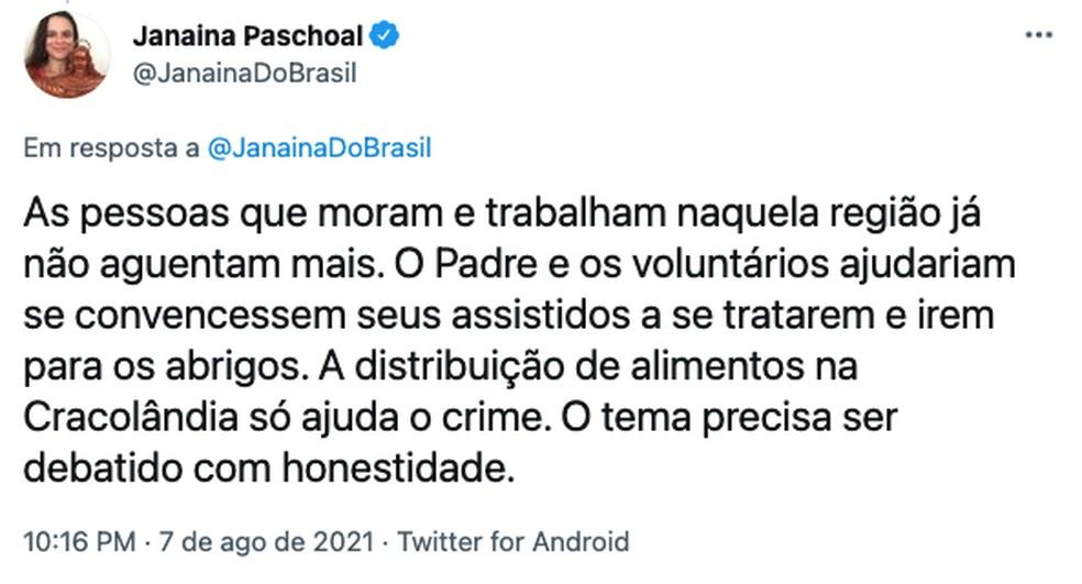 Post da deputada estadual Janaina Paschoal no Twitter critica doação de alimentos na Cracolândia — Foto: Reprodução
