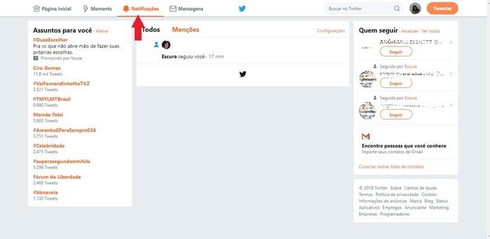 É possível ver todas as suas notificações em uma aba do Twitter, que mostra quem falou com você, os retweets e likes que você teve, entre outras coisas (Foto: Reprodução/Clara Barreto)