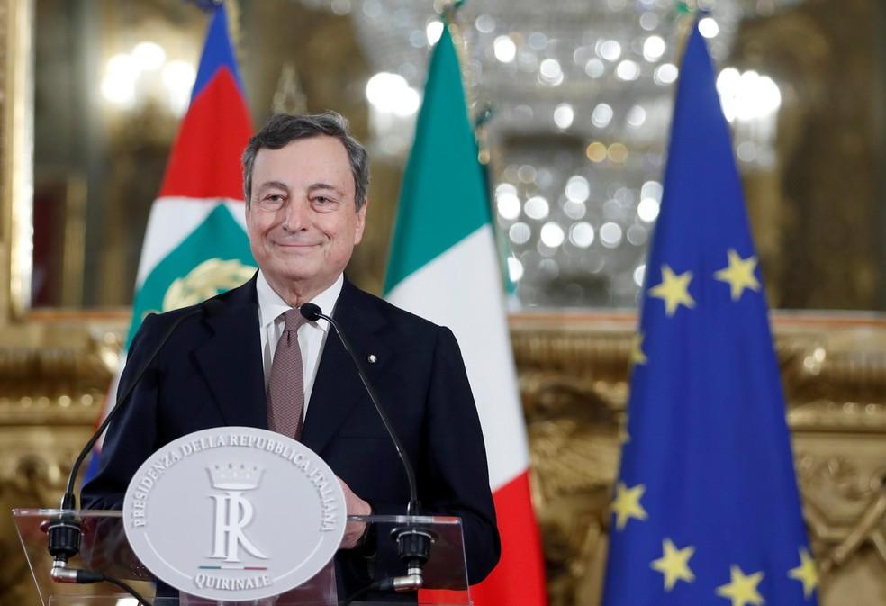 Mario Draghi, primeiro-ministro da Itália, durante entrevista coletiva em Roma — Foto: Yara Nardi/Pool via Reuters