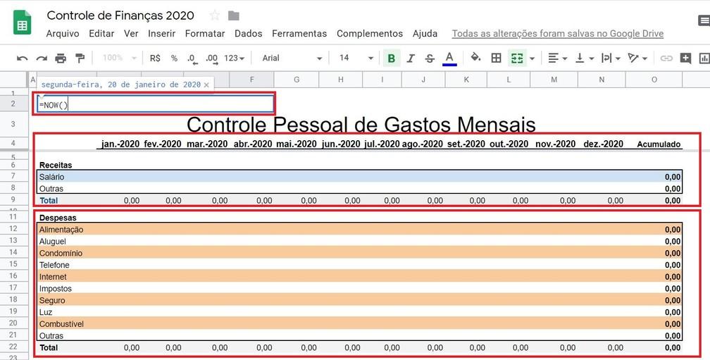 Cada aba terá uma finalidade específica para organizar as informações correspondentes aos lançamentos de receitas e despesas — Foto: Reprodução/G1