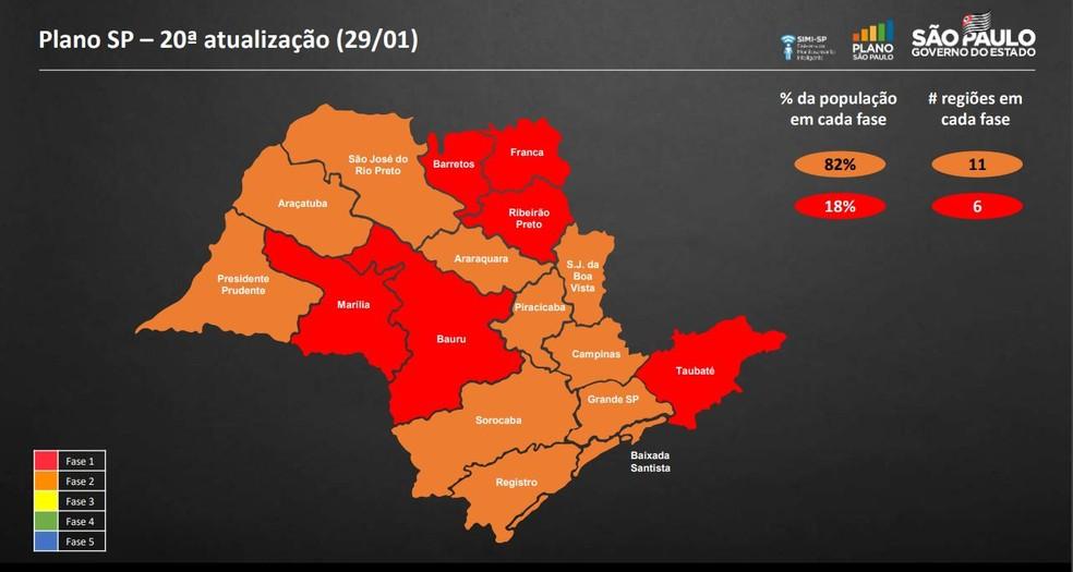 Mapa com nova reclassificação do estado no Plano SP nesta sexta-feira (29). — Foto: Divulgação/Governo de SP