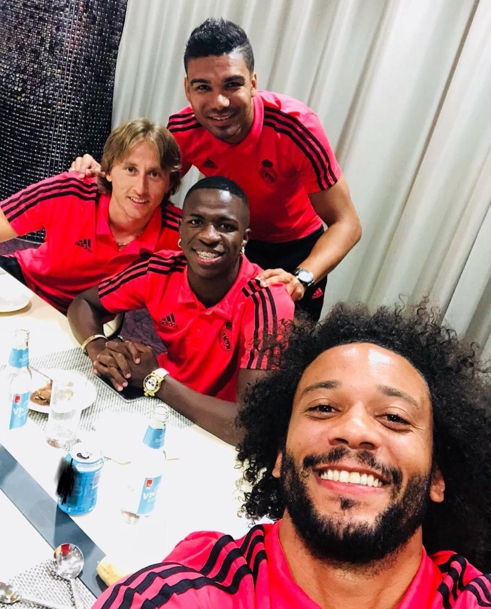 Casemiro, Modric, Vinicius Junior e Marcelo estarão com o Real no Mundial — Foto: Reprodução / Instagram