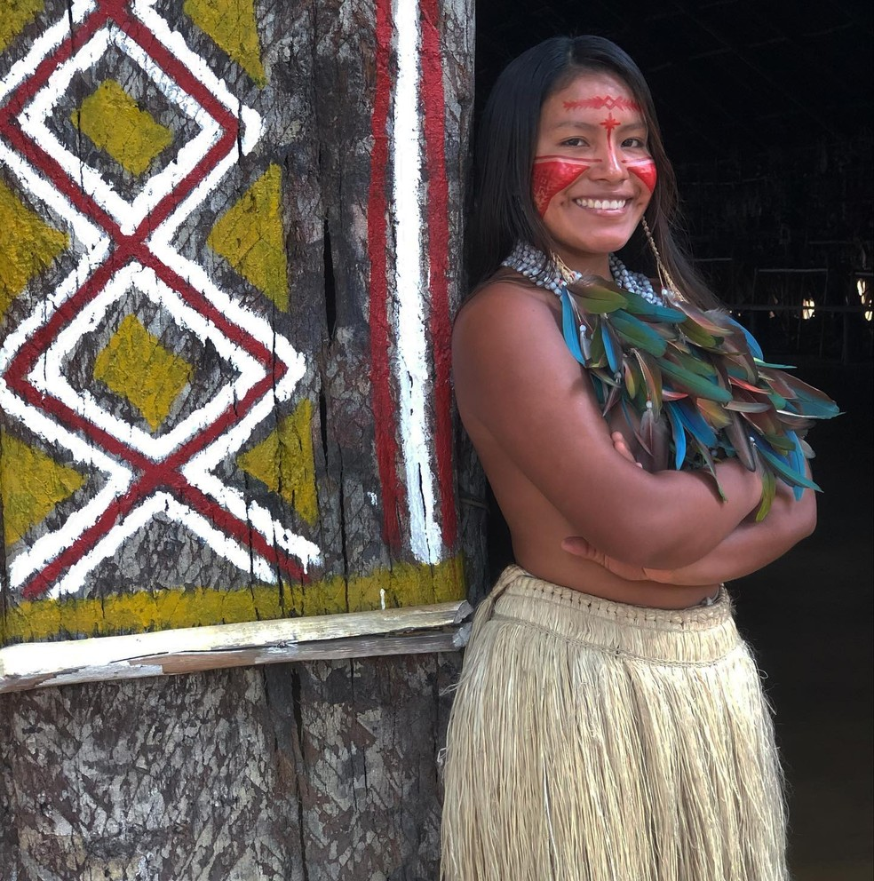 Artista indígena viraliza nas redes sociais — Foto: Arquivo pessoal