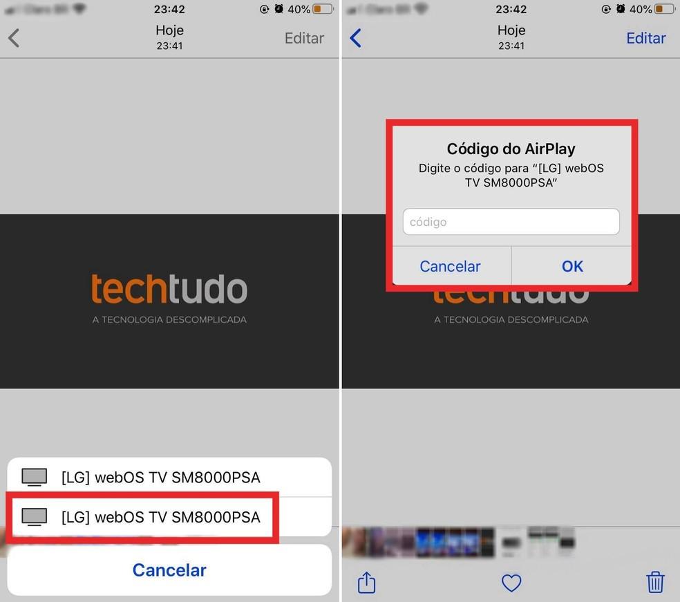 Exibir fotos do iPhone na smart TV — Foto: Reprodução/Milena Garcia