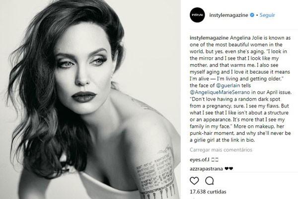 Postagem da revista 'InStyle' sobre a entrevista de Jolie para a publicação (Foto: Reprodução/Instagram)