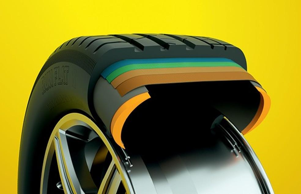 As laterais do run flat são reforçadas para lidar com o peso do carro mesmo sem ar (Foto: Otávio Silveira/Autoesporte)