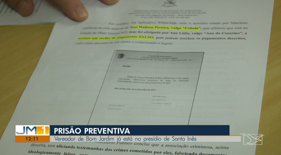 Cesarino estava coagindo funcionários a assinar recibos que comprovassem o recebimento de dinheiro. — Foto: Reprodução/TV Mirante