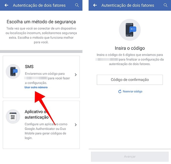 Habilite o recebimento de códigos via SMS (Foto: Reprodução/Paulo Alves)