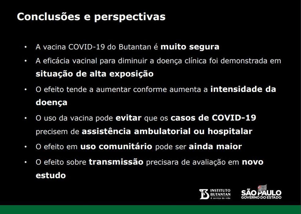Conclusões do estudo clínico da CoronaVac. — Foto: Divulgação/Instituto Butantan