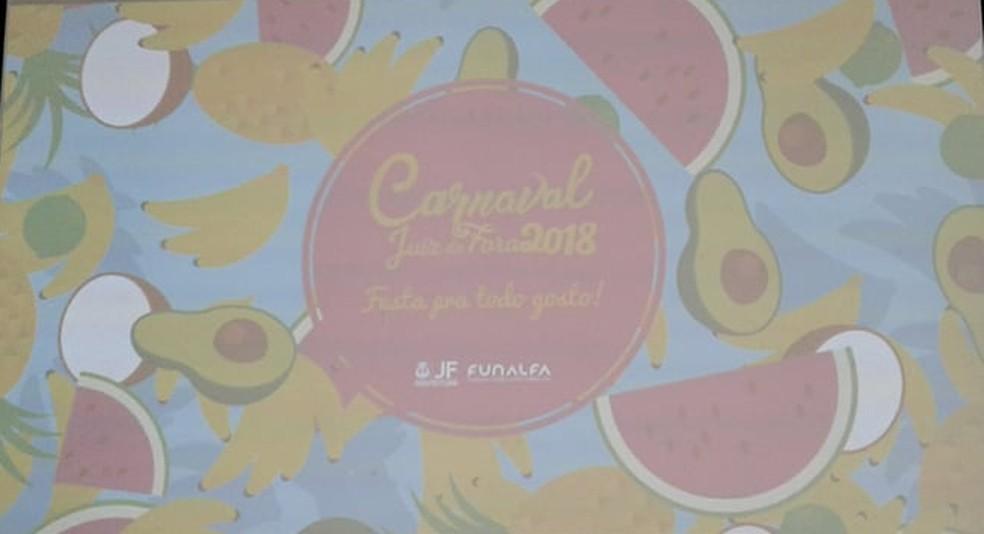 Logo oficial do carnaval 2018 em Juiz de Fora (Foto: Fellype Alberto/G1)