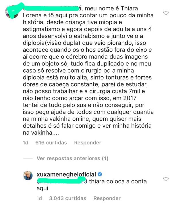 Resposta de Xuxa no Instagram (Foto: Reprodução/Instagram)