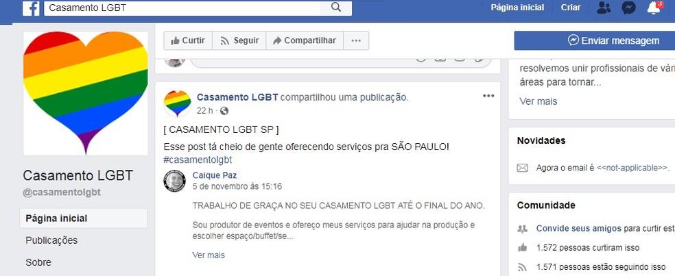 """Página """"Casamento LGBT"""" reúne voluntários no Facebook — Foto: Reprodução/Facebook"""
