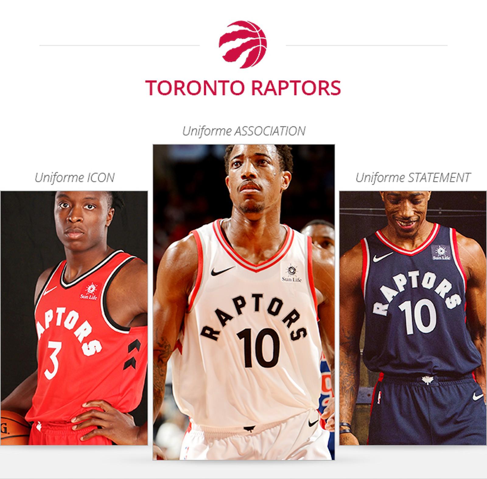 Uniformes Toronto Raptors saison 2017/18