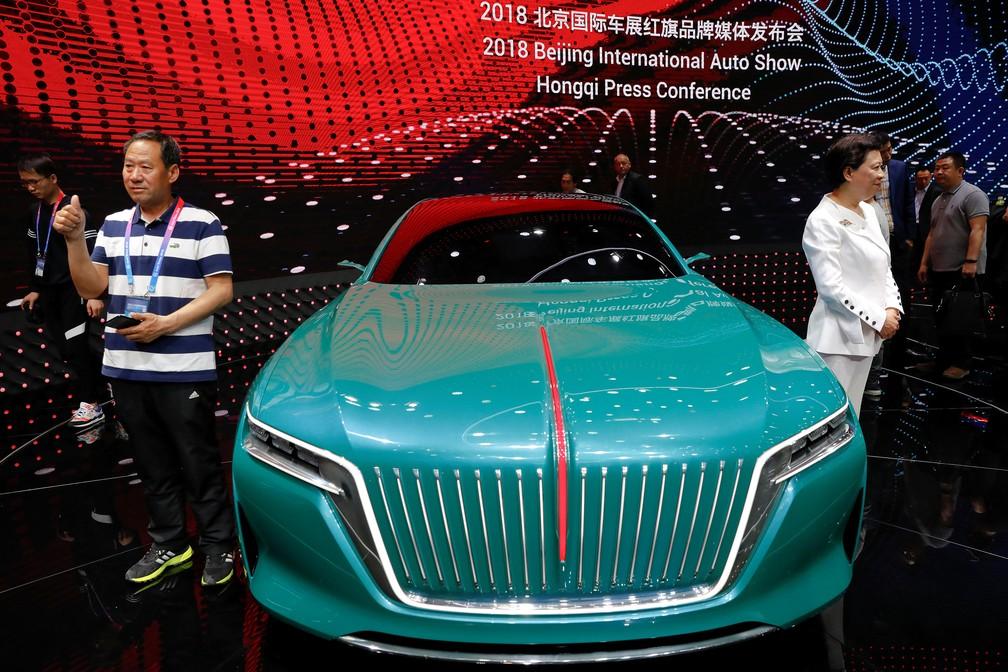Conecito da Hongqi, marca do grupo Faw, no Salão de Pequim 2018 (Foto: Damir Sagolj/Reuters)