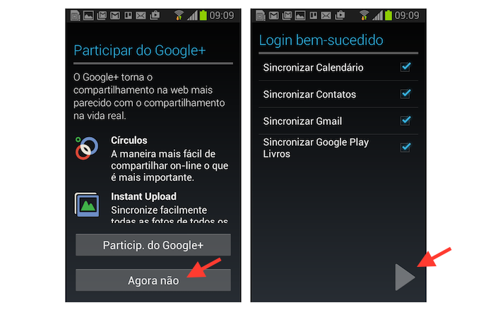 Terminando o vinculo de uma nova conta do Google a um dispositivo Android (Foto: Reprodução/Marvin Costa)