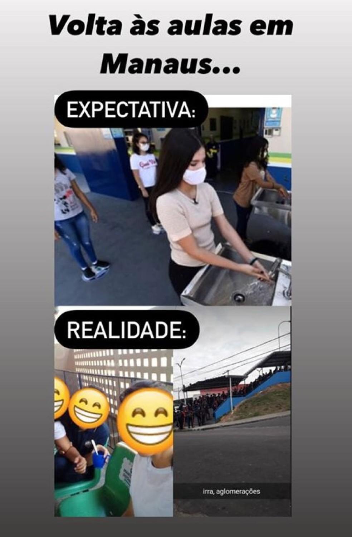 Meme mostra diferenças entre a expectativa e a realidade do retorno. — Foto: Reprodução/Redes Sociais