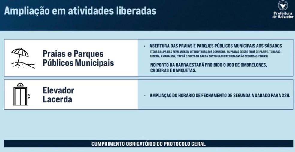 ACM Neto anuncia liberação das praias e parques públicos municipais aos sábados — Foto: Reprodução