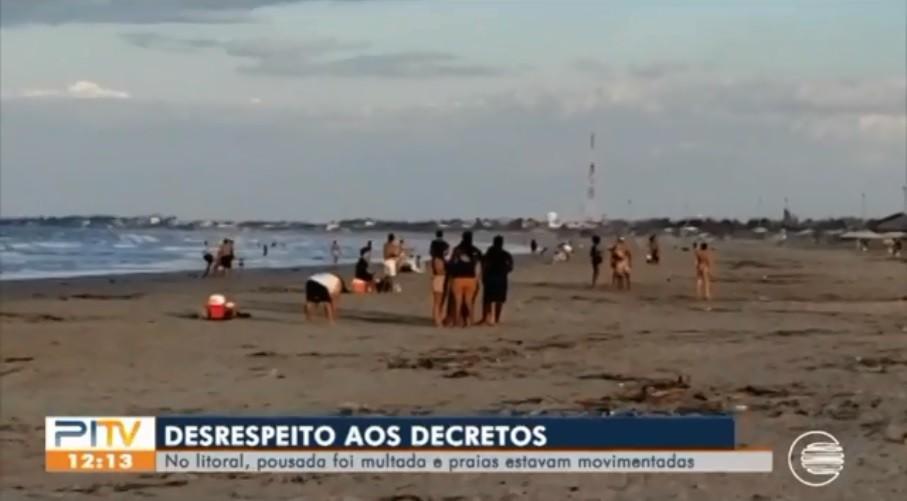 Praias registram aglomerações e pousada é multada em R$ 15 mil no Litoral do Piauí