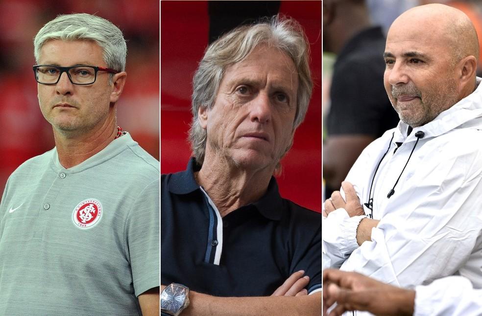Comandantes de Internacional, Flamengo e Santos - times do G-4 de aproveitamento do 2º trimestre — Foto: GloboEsporte.com
