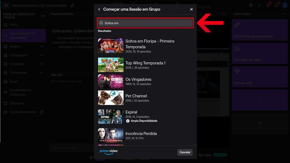 Pesquise o filme ou série do Prime Video que deseja transmitir na live na Twitch TV — Foto: Reprodução/Leandro Eduardo