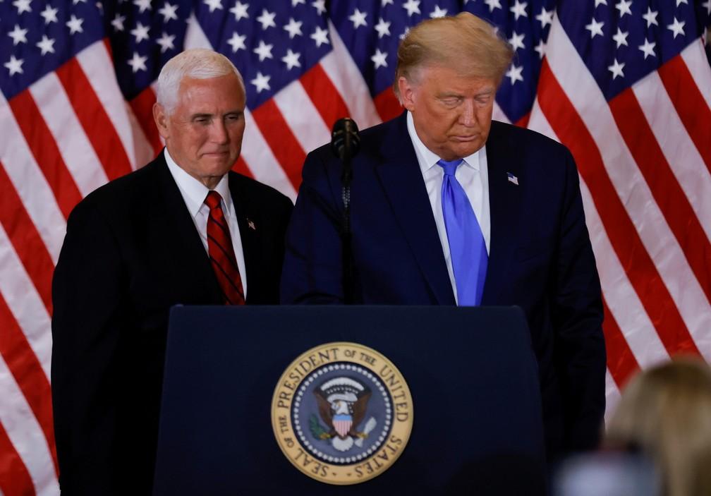 Presidente dos EUA, Donald Trump, e seu vice, Mike Pence  — Foto: REUTERS/Carlos Barria