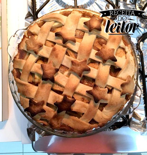 Receita da leitora Vivian Coutinho de torta de maçã (Foto: Vivian Coutinho/Divulgação)