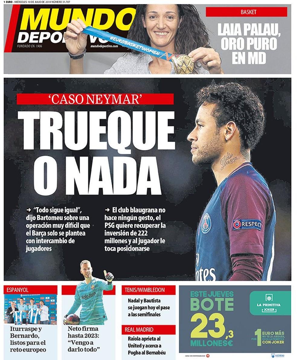 """Mundo Deportivo: """"Troca ou nada"""" — Foto: Reprodução/Mundo Deportivo"""