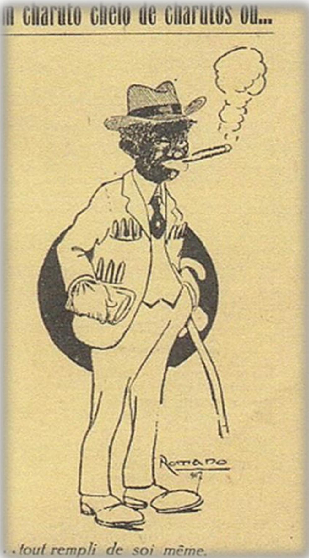 Charge da revista D. Quixote, na edição de agosto de 1917, debocha de homem negro elegante, 'todo cheio de si' — Foto: Biblioteca Digital do Senador Federal/Reprodução