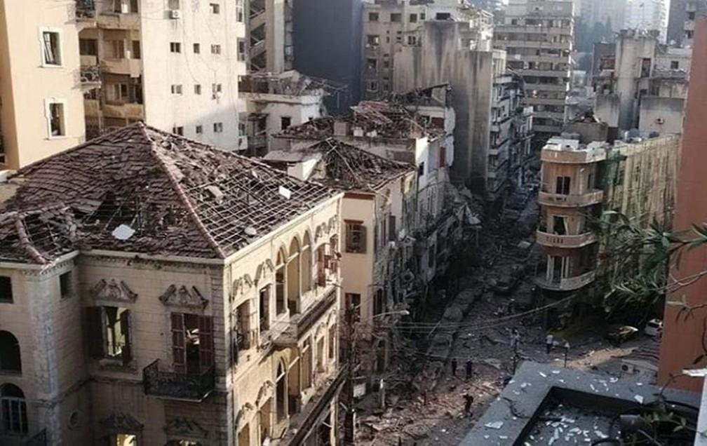 Parte de Beirute após explosão em porto. — Foto: Andre Aza