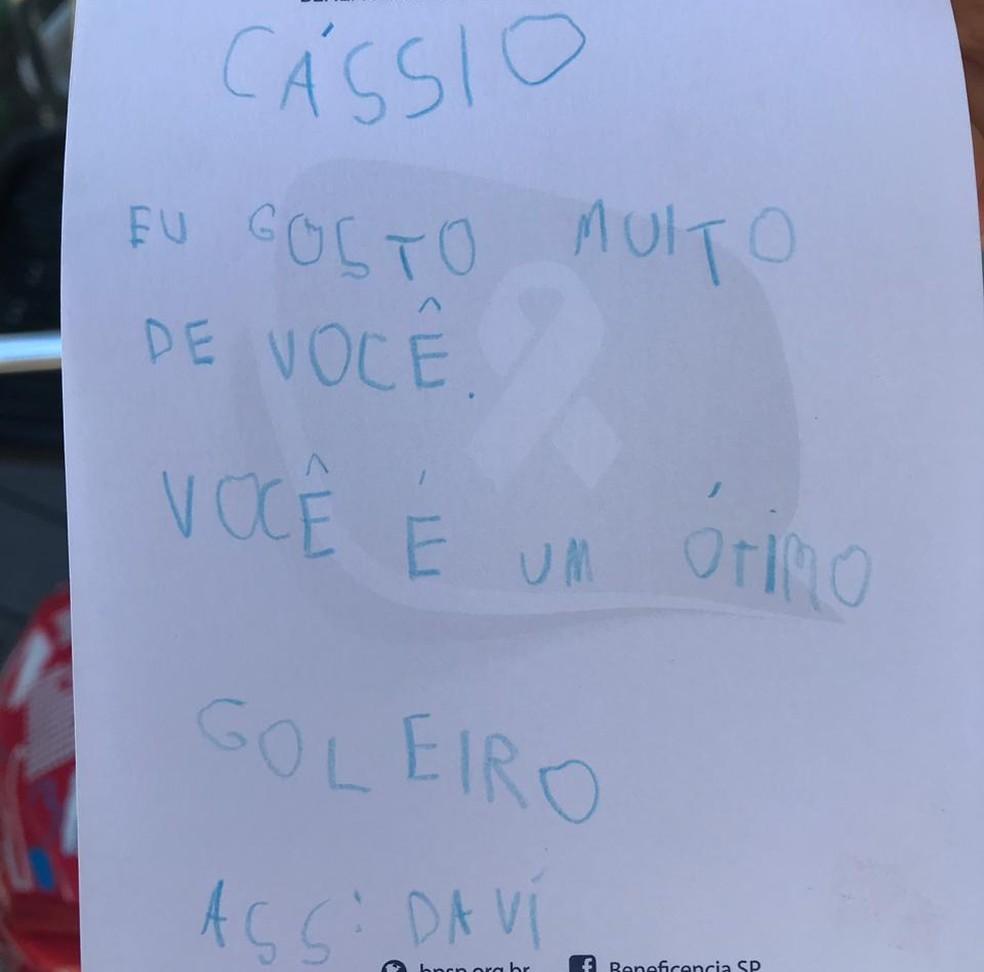 Carta do menino Davi para Cássio, do Corinthians — Foto: Marcelo Braga