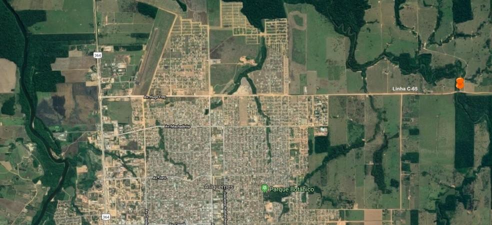 Moradores do outro lado da ponte precisam usar outra rota para chegar até Ariquemes — Foto: Google Maps/Reprodução