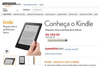 Kindle, vendido no site da Amazon Brasil, com link para o Ponto Frio (Foto: Reprodução/Amazon)