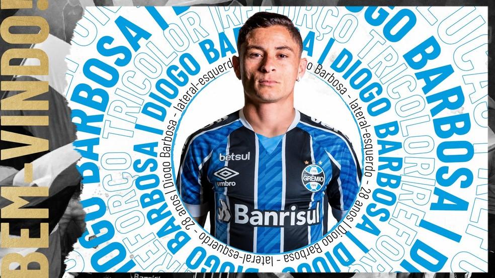 Diogo Barbosa é o mais novo reforço do Grêmio — Foto: Divulgação